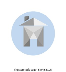 Illustration of origami paper house isolated on white background
