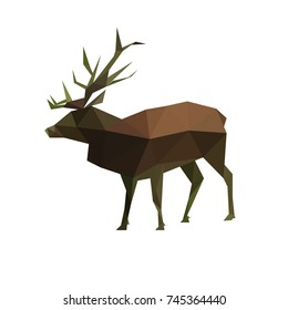 Illustration of origami polygonal stag isolated on white background
