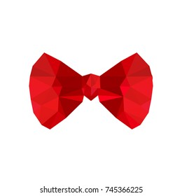 Illustration of origami red bow isolated on white background