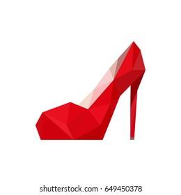 Illustration of origami red shoe isolated on white background