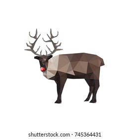 Illustration of origami reindeer with red nose