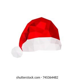 Illustration of origami santa claus hat