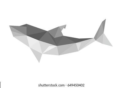 Illustration of origami shark isolated on white background