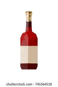 Illustration of origami wine bottle isolated on white background