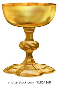 Illustration of an ornate and highly polished antique golden chalice