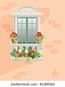an illustration of an ornate window with balustrade and ornamental flower pots set in a pale terracotta textured wall in summer