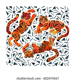 Illustration with painted in watercolor tigers, triangle and strips. Print in trendy memphis style.
