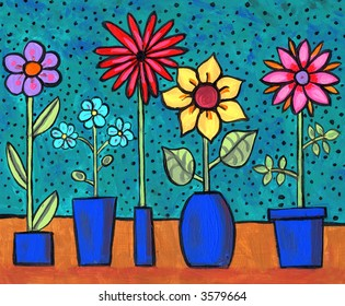 Illustration/ Painting of funky retro flowers in pots