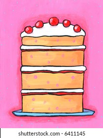 Illustration / painting of pink Cherry Birthday Celebration Cake with Cherries on top. I am the artist and hold the copyright.
