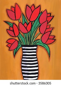 Illustration / painting of red tulip bouquet in striped black and white vase.