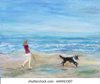 An illustration, painting of a young woman walking her dog on the beach. The collie dog is running in front of the woman along the sand,on a summer day with blue sky and sea.