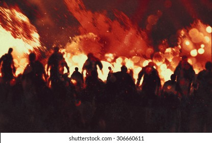 illustration painting of zombies walking through burning fire flames