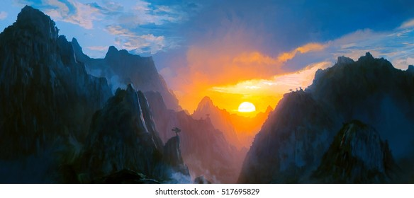 Illustration of panoramic landscape digitally painted where one observes several mountains with the sun setting