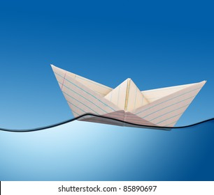illustration of  paper boat on the ocean.
