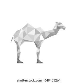 Illustration of paper origami camel isolated on white background
