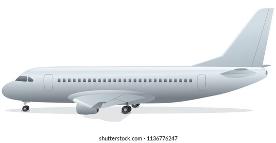 illustration of passenger airplane standing in airport