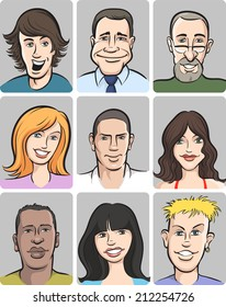 illustration of people faces collection