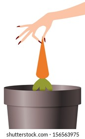 Illustration of a person throwing a vegetable into a bin
