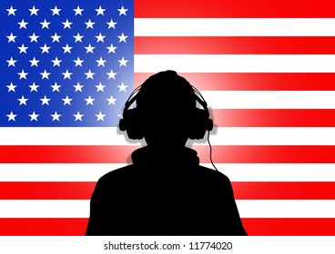 Illustration of a person wearing headphones in-front of the United States flag