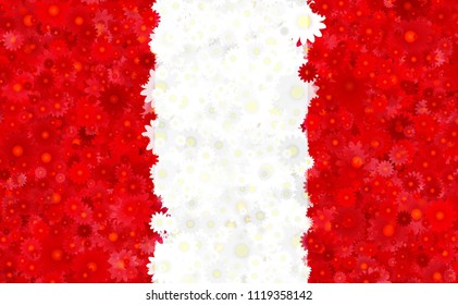 Illustration of a Peruvian Flag with flower motives