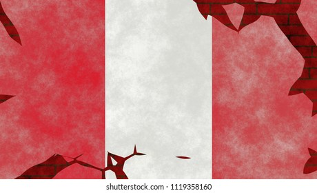 Illustration of a Peruvian Flag, imitating of a painting on the old wall with cracks