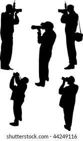 illustration with photographer silhouettes isolated on white background
