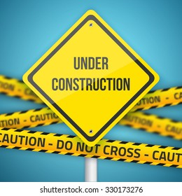 Illustration of Photorealistic Website Under Construction Sign with Police Do Not Cross Caution Line