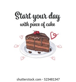 Illustration with pice of chocolate cake.