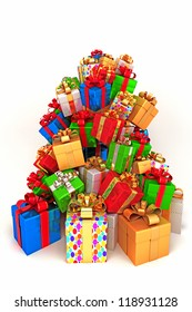 illustration of pile of colorful gift for holiday celebration