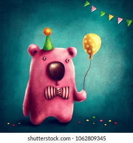 Illustration with a pink bear and balloon