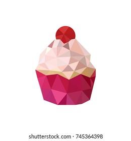 Illustration of pink origami cupcake isolated on white background