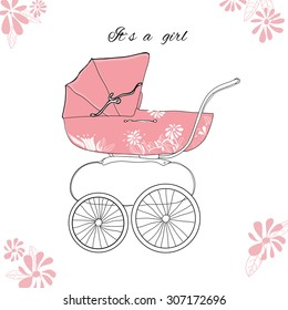 illustration of pink pram for girl with flowers.