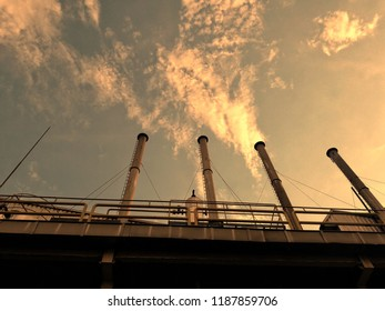 illustration pipe pollution ,wastebasket in factory evening