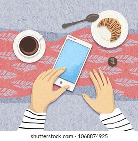 An illustration of the place of gadgets in modern society. Cellphone with coffee and croissant. Blog concept. Digital generation. Internet addiction.