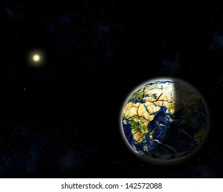 illustration of the planet Earth, Venus and Mercury orbiting around the sun at far in pale starfield background. Elements of this image furnished by NASA
