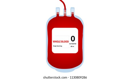 Illustration of Plastic blood bag isolated in white background. Donate blood concept. Flat style.