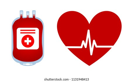 Illustration of plastic blood bag, red heart and heartbeat isolated in white background. Donate blood save life concept.