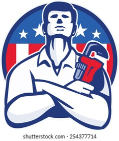 Illustration of a plumber tradesman handyman worker with arms crossed holding a monkey wrench facing front set inside circle  with American stars and stripes flag done in retro style.