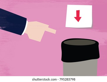 Illustration of a pointing had and garbage can