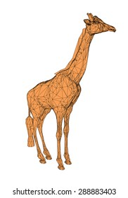 Illustration of a polygonal giraffe. Isolated.