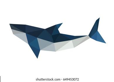 Illustration of polygonal, origami shark isolated on white background