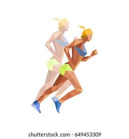 Illustration of polygonal woman athelete running, isolated on white background