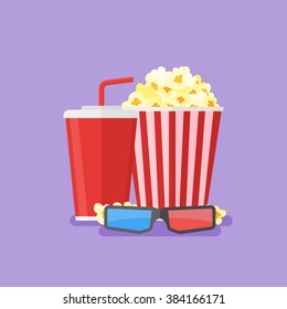 Illustration of popcorn, soda takeaway and 3d cinema glasses. Cinema design in flat style.