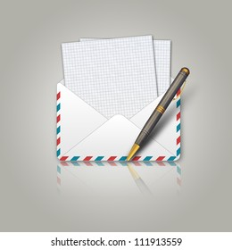 Illustration of postal envelope and pen background.