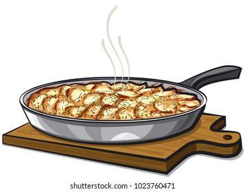 illustration of of potato gratin