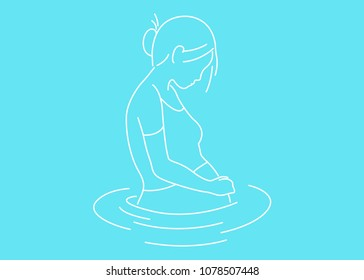 Illustration of Pregnant Woman in Water
