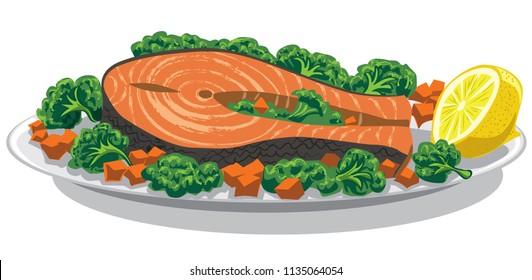 illustration of prepared salmon with lemon on plate