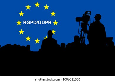 Illustration of a Press Conference cameraman silhouette against the General Data Protection Regulation symbol