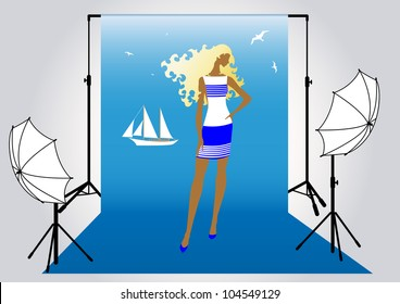 illustration of a pretty girl model  in the studio for photo shoot in marine style
