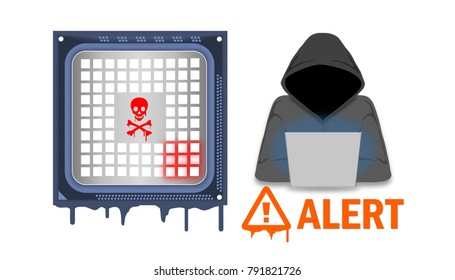 Illustration of a processor affected by meltdown and spectre critical security vulnerabilities, which enable cyber attacks from hacker on cloud infra, computers, servers, mobile devices and iot